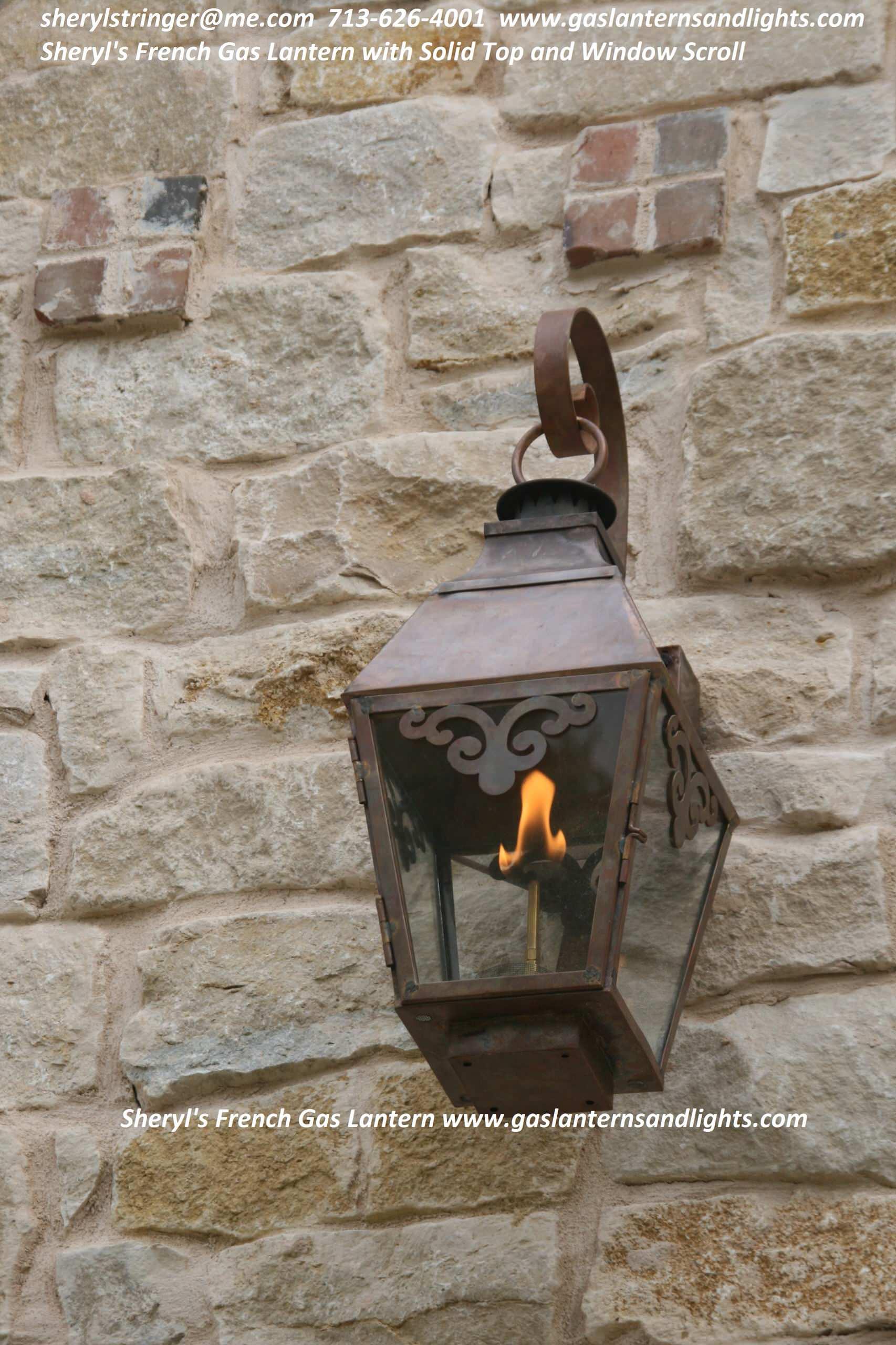 Sheryl's French Gas Lantern with Window Scrolls