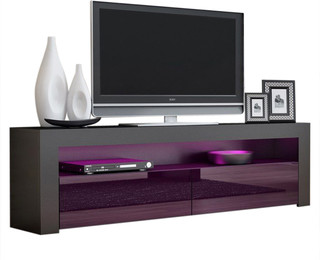 "TV Stand Milano Classic Black Body Modern 65"" TV Stand LED ..."