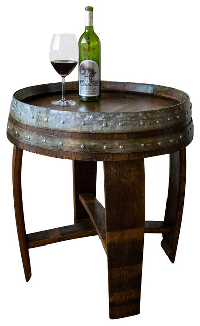 rustic side table uk ideas banded wine barrel with cross braces tall coffee tables canada