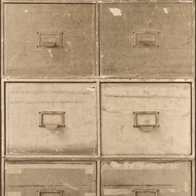 Contemporary Industrial Faux Tan File Cabinet Wallpaper, Sample