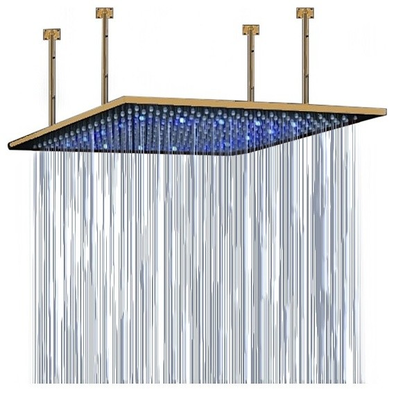 Junoshower 24 Large Ceiling Mount Gold LED Rain Shower