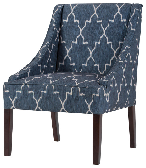 Small Apartment Accent Chairs.Hayworth Moroccan Patterned Blue Accent Chair