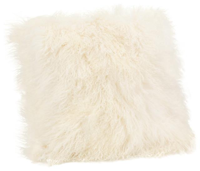 Lamb Fur Pillow, Large, Cream.
