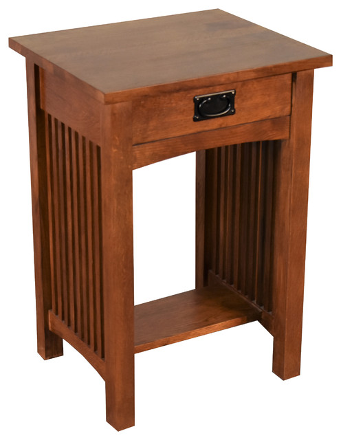 Nightstand Table: Mission Style Solid Oak 1-drawer Nightstand, Bedside Table