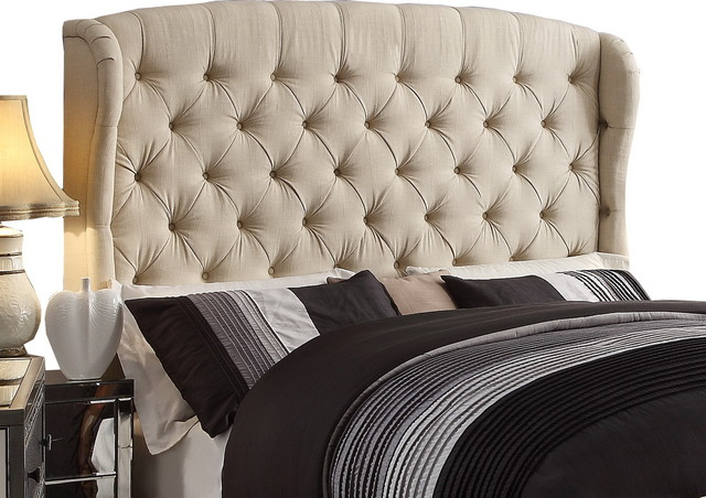 Feliciti Beige Tufted With Wings Queen Upholstery Headboard.