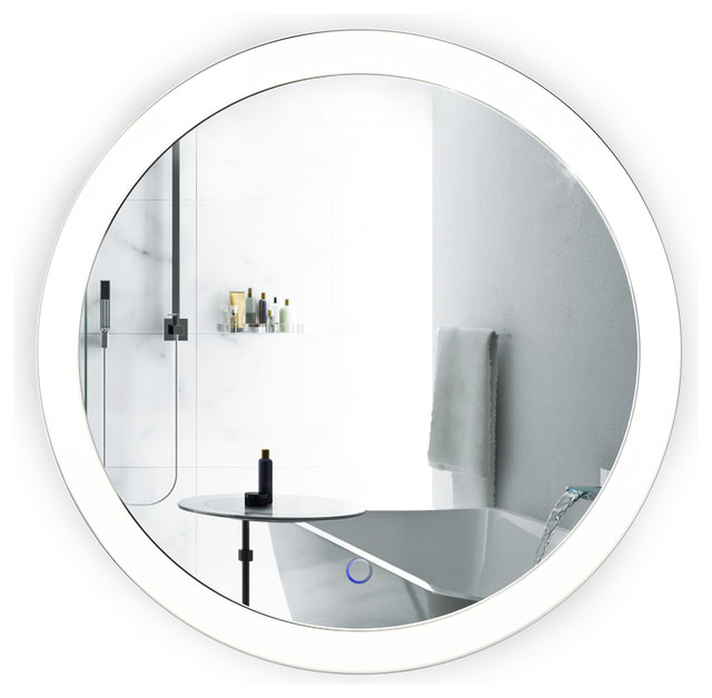 Wall Mount Vanity Mirror sol round led wall-mounted bathroom mirror with defogger