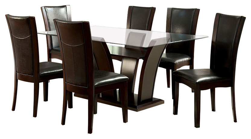Manhattan Dark Cherry Finish Rectangular Glass 7 Piece Dining Table Set Transitional Dining Sets By Solrac Furniture