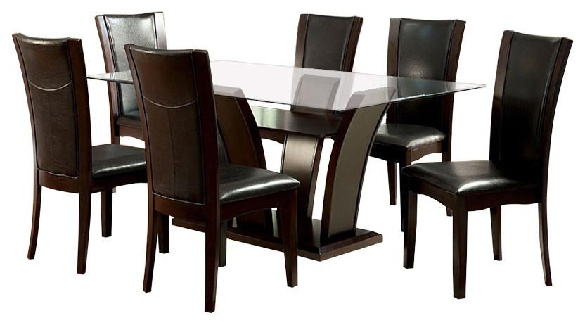 Manhattan Dark Cherry Finish Rectangular Glass 7 Piece Dining Table Set Transitional Dining Sets By Solrac Furniture