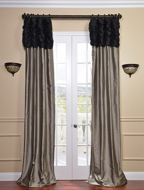 Ruched Thai Silk Curtain - Midnight Black Header & Silver Grey Panel
