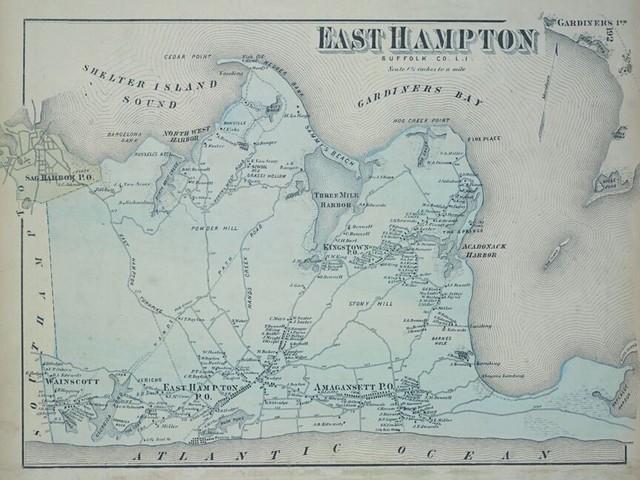 1873 East Hampton Sufflok County Li Map 18x24 Prints And Posters