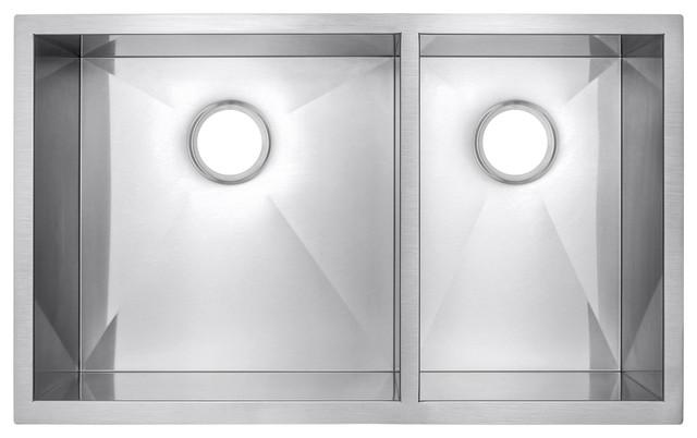 "33""x22""x9"" Handmade Undermount Dual Basin 60/40 Stainless Steel Sink."