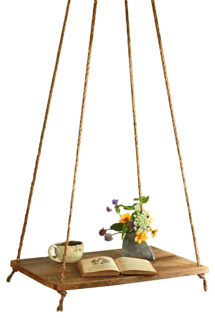 Rope Suspended Outdoor Table Farmhouse Outdoor Side Tables By