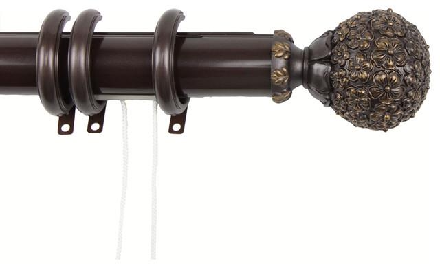 "Rod Desyne Window Lush Decorative Traverse Rod With Rings 84""-156"" Mahogany."