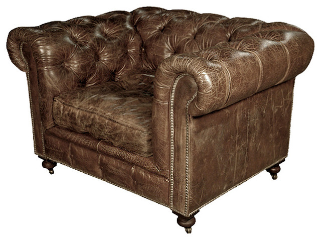 Kensington Chesterfield Leather Arm Chair In Vintage Cigar Transitional Armchairs And Accent