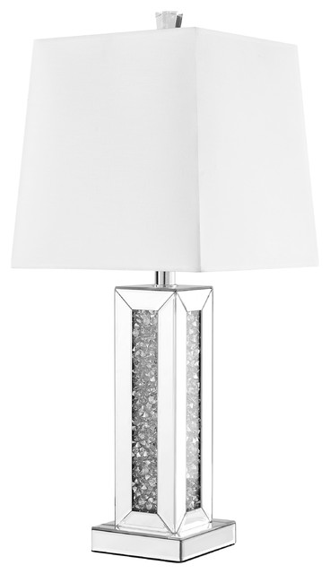 Sparkle Collection 1-Light Silver Finish Table Lamp.