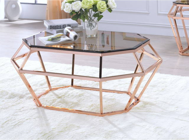 Octagon Shaped Glass Coffee Table With Geometric Metal Base