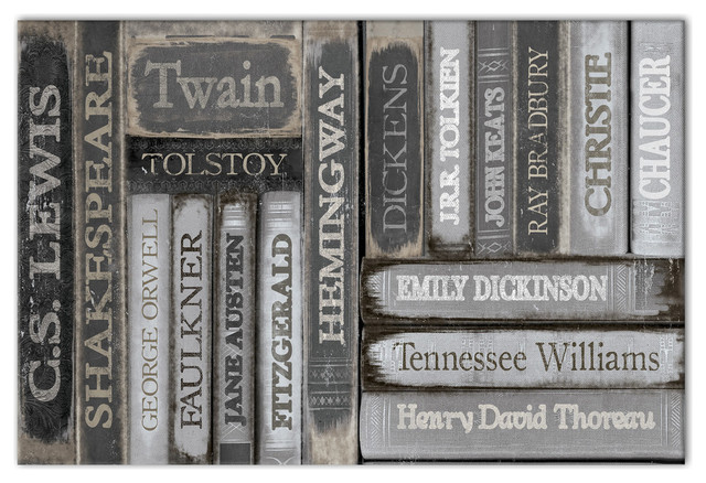 Famous Authors Books Canvas Wall Art, 16x24, Unframed.