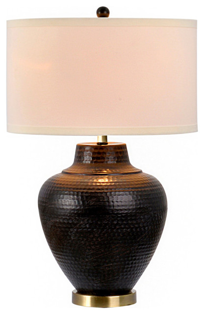 """Pembroke 27"""" 3-Way Hammered Oil Rubbed Bronze Metal Table Lamp, Bulb Included."""