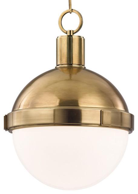 "Scipio 1-Bulb Pendant Light, Aged Brass, 15""."