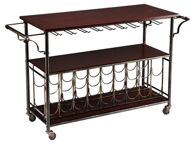 Cart With Storage Shelf And Wooden Top, Espresso