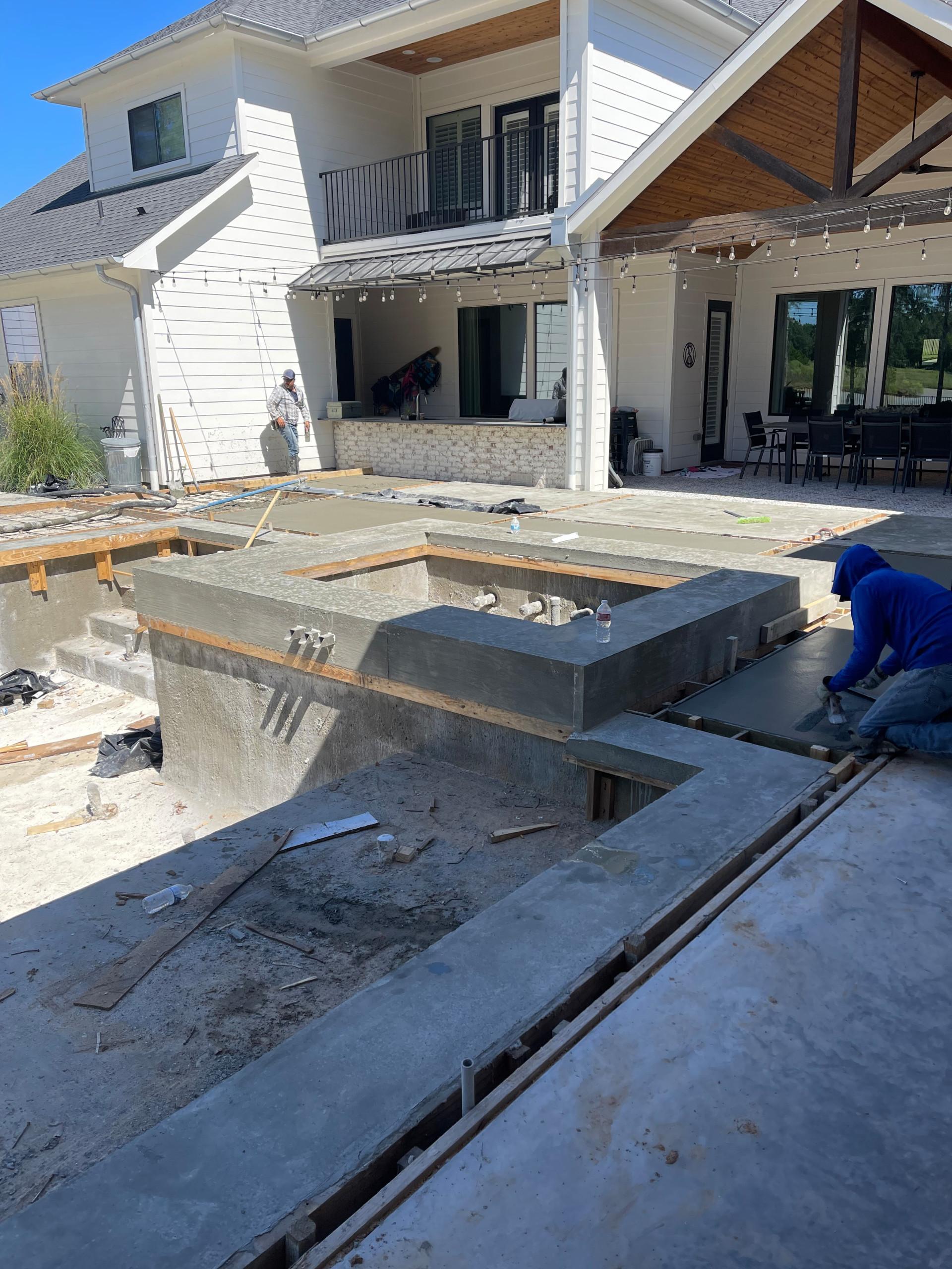 Pool decks, concrete copping