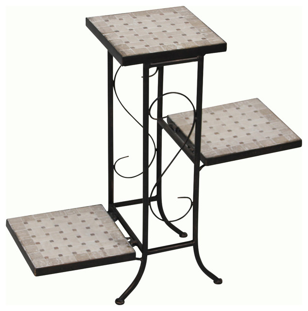 3 Tier Plant Stand With Travertine Top Black Metal