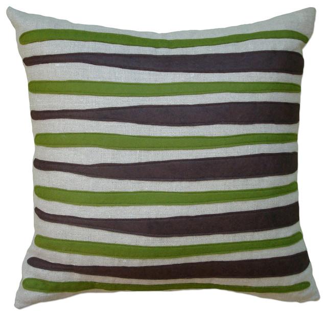 Modern Felt Pillows : Felt Applique Linen Pillow - Morris - Contemporary - Decorative Pillows - by Balanced Design