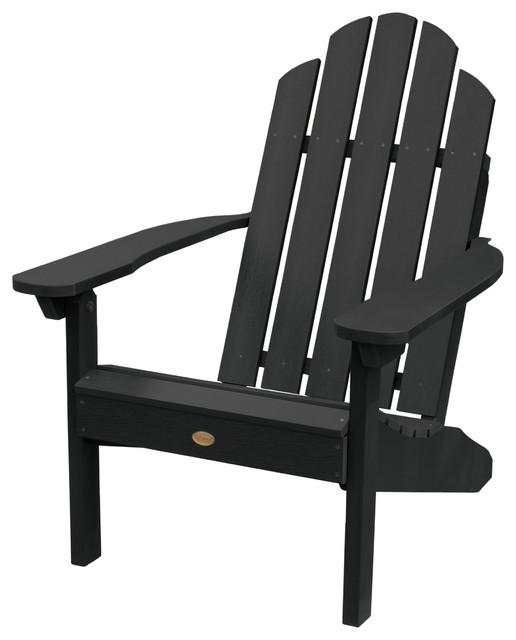 Classic Westport Adirondack Chair, Black Traditional Adirondack Chairs