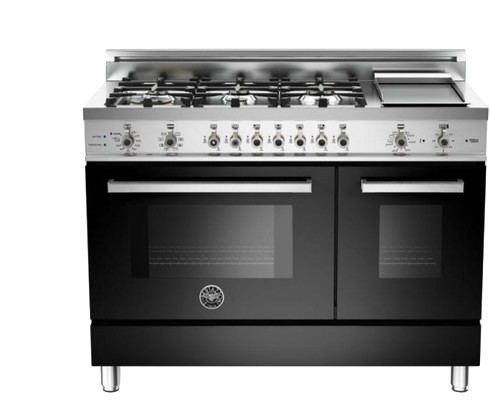 48 6-Burner With Griddle Double Oven, Electric, Black.