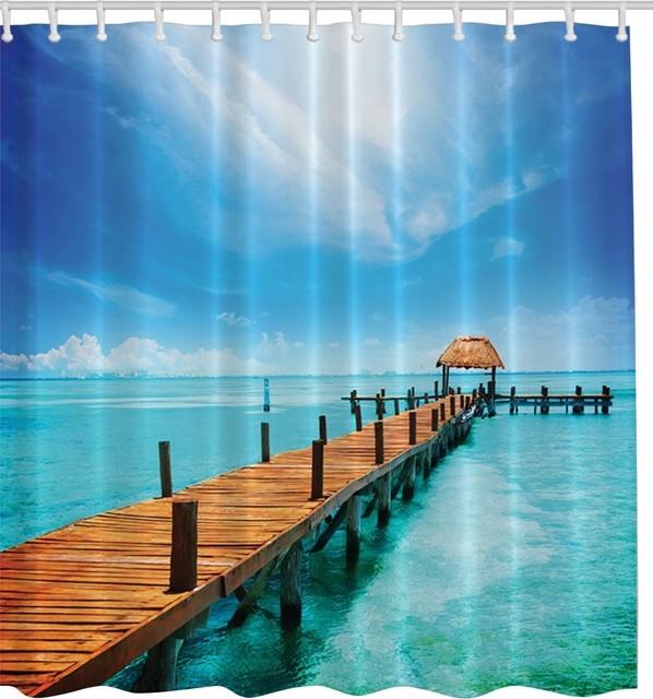 Tropical Blue Paradise Pier Fabric Shower Crtain Beach Style Curtains