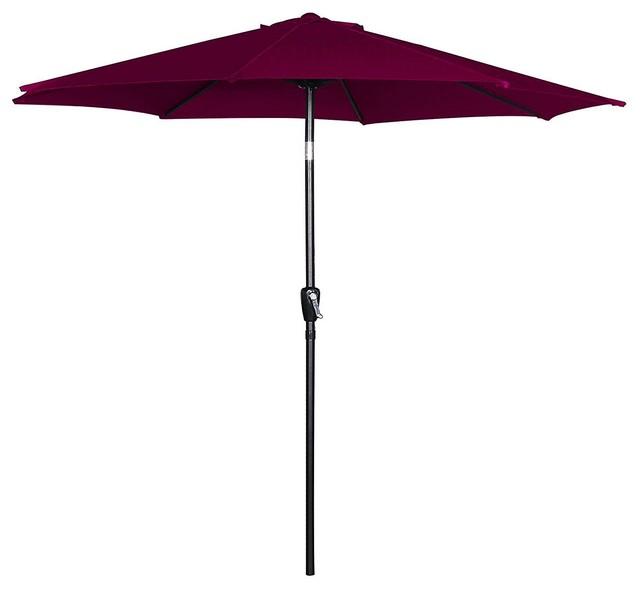 a51c05260c Outdoor Tilt Patio Umbrella Canopy beach Umbrella Garden Umbrella,  Burgundy, 9Ft