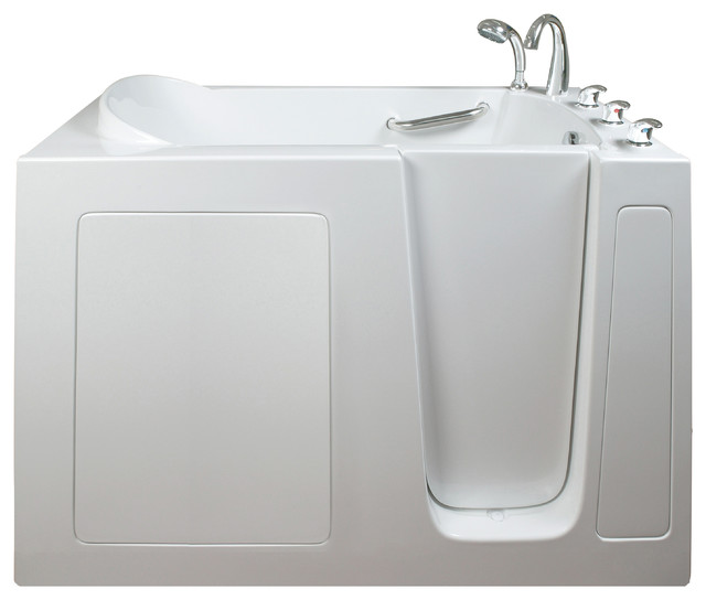 Ella narrow 26 wide hydro massage walk in bath bathtubs for Narrow deep soaking tub