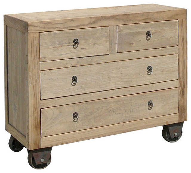 ... chinese antique natural wood dresser storage cabinet w wheel rustic  buffets and ... - Storage Cabinet With Wheels