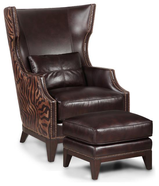 Simon Li Zebra Print Leather Accent Chair And Ottoman Set Traditional Arm