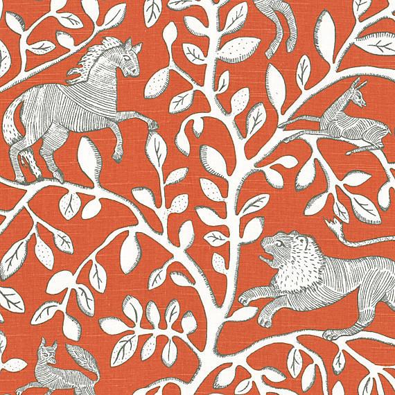 Red modern animal motif fabric modern drapery fabric for Modern home decor fabric