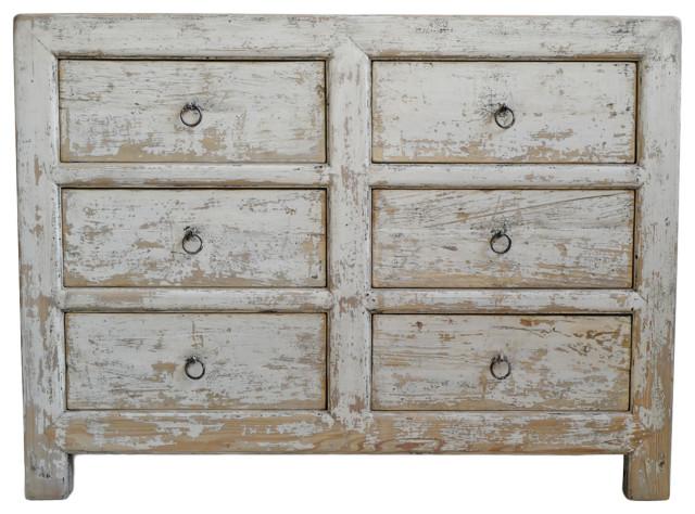 White Wash Elm 6 Drawer Dresser Farmhouse Dressers By Design Mix Furniture