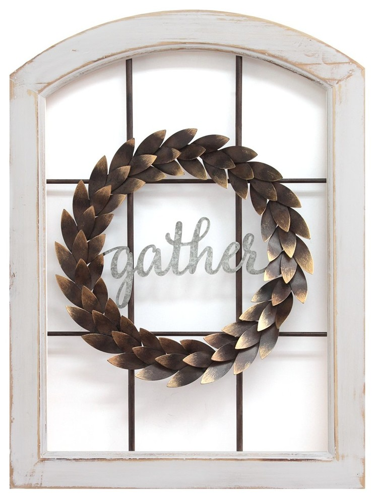 Stratton Home Decor Decorative Window Wreath Wall Decor Farmhouse Wall Accents By Virventures