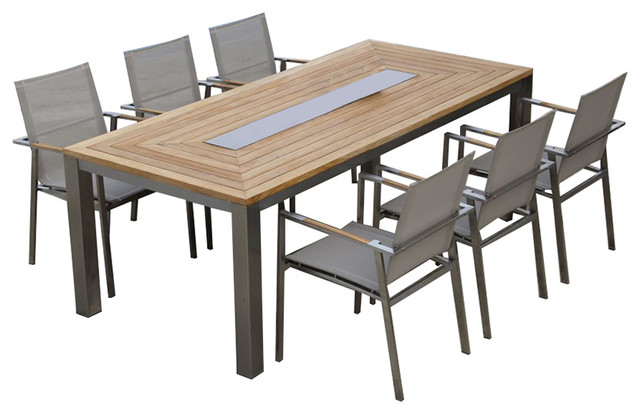 Teak Steel Dining Table Set Signature Alzette Collection - Teak high top table and chairs