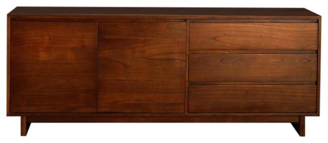 Milo White Cedar 2-Door Sideboard, Walnut Finish, 3 Drawers
