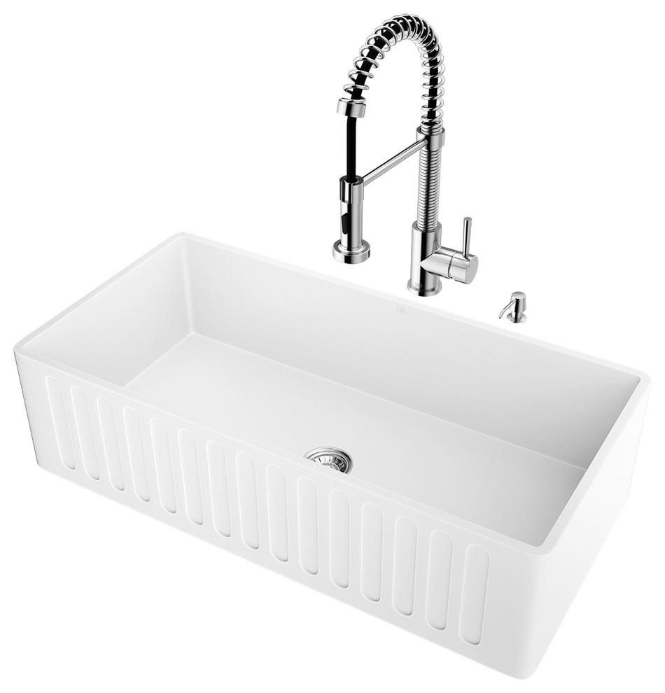 "Vigo Laurelton Pull Down Spray Kitchen Faucet In Matte Black vigo all-in-one 36"" matte stone farmhouse kitchen sink set"