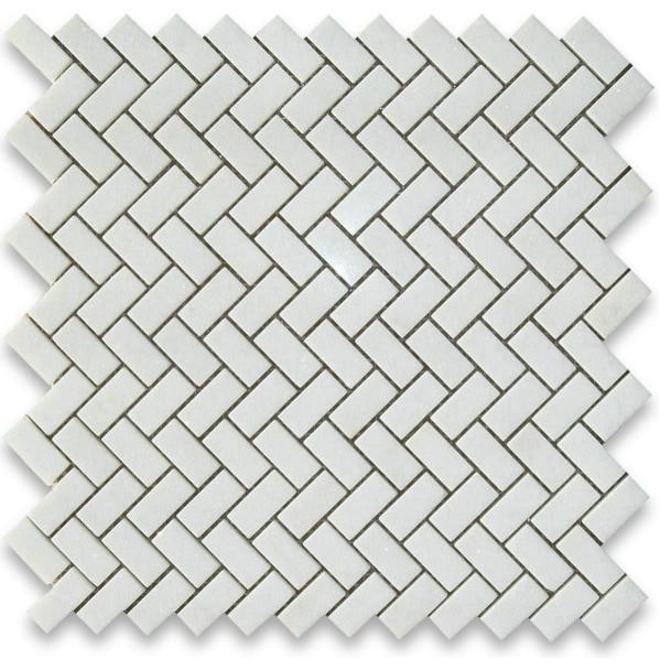 12 X12 Thos White Herringbone Mosaic Tile Honed