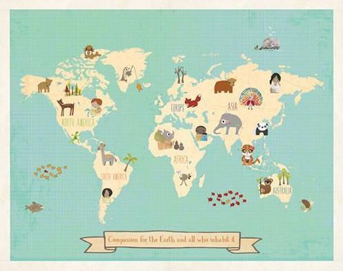 Woodland animal poster nursery houzz rebecca peragine inc children inspire design global compassion world map kids wall decor gumiabroncs Images