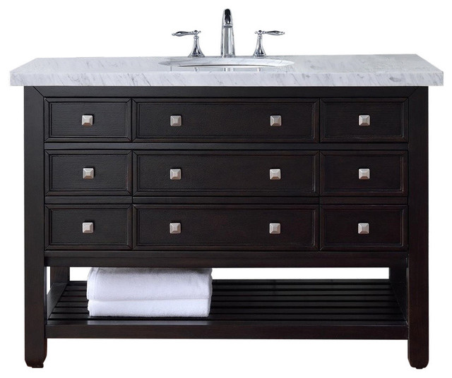 Elegant  Double Vanities  60quot Vancouver Espresso Double Sink Bathroom Vanity