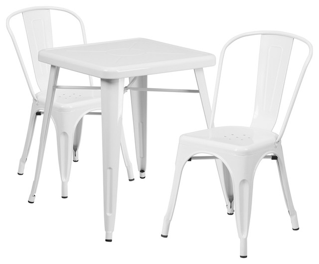 Flash Furniture White Metal Indoor-Outdoor Table Set With 2 Stack Chairs