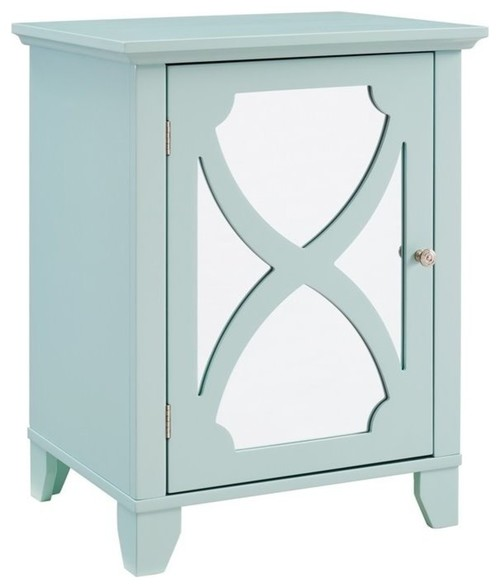 Linon Talvi Seafoam Small Cabinet with Mirror Door
