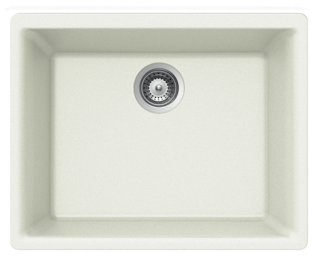 Houzer G-100u Cloud Quartztone Series Granite Undermount Single Bowl Sink, White.