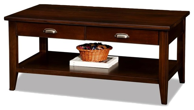 Leick Laurent Two Drawer Solid Wood Coffee Table In Chocolate Cherry.