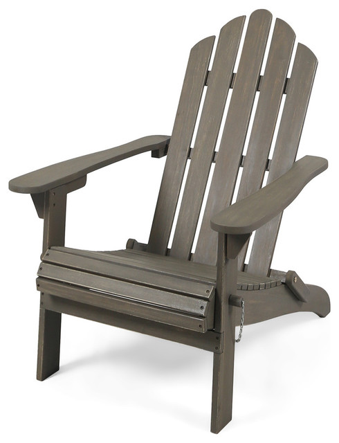 Wondrous Gdf Studio Cara Outdoor Foldable Acacia Wood Adirondack Chair Gray Finish Gamerscity Chair Design For Home Gamerscityorg