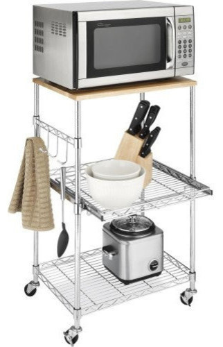 Metal Microwave Kitchen Cart With Adjustable Shelves And Locking Wheels  Contemporary Kitchen Islands