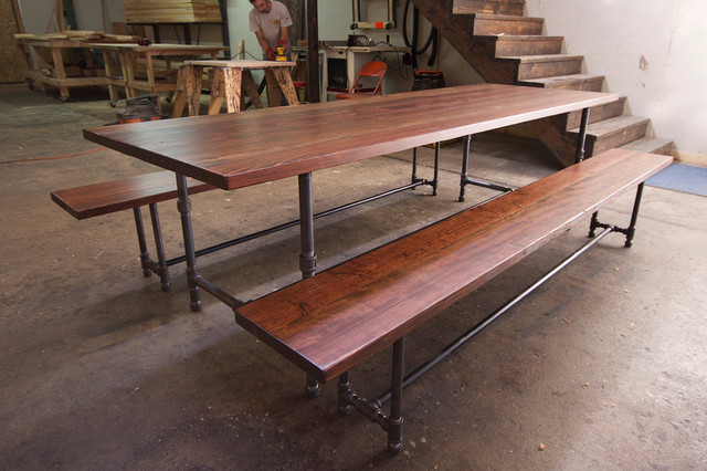 Iron Pipe Dining Table And Benches Industrial Tables